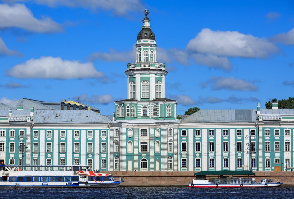 Kunstkamera museum across Neva river in summer. St Petersburg, Russia