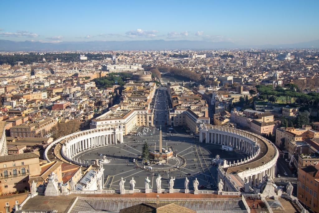 Looking down over Piazza San Pietro in Vatican City