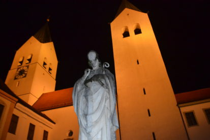 Freising Cathedral and statue at night