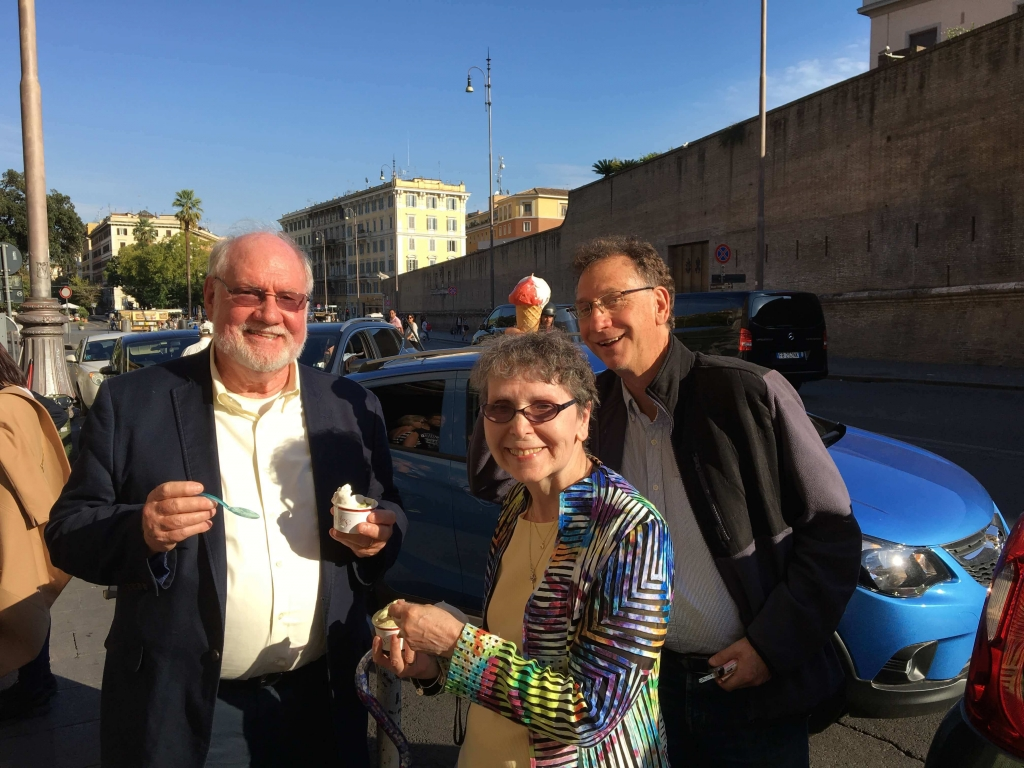smiling after getting ice cream in italy