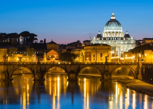 rome canal reflecting night lights