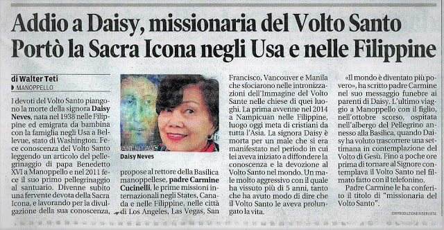 Article on Daisy Neves Appears in Il Centro Newspaper of Abruzzo